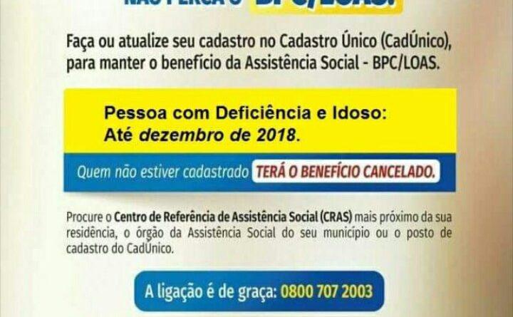 Idosos e pessoas com deficiência devem atualizar cadastro até dezembro na sede do CRAS