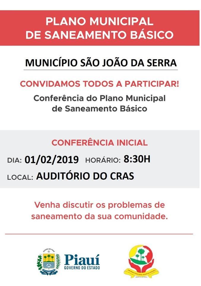 Convite para conferência sobre saneamento básico